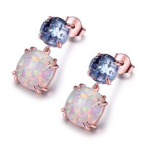 Silver Drop Opal Earrings October Birthstone